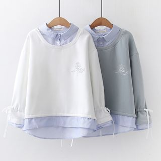 Mock Two-Piece Embroidered Pullover from Aigan