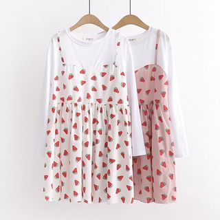 Mock Two-Piece Long-Sleeve Watermelon Print Dress from Aigan