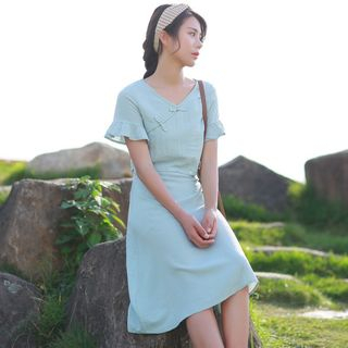 Mock Two Piece Short-Sleeve Midi Dress from Aigan