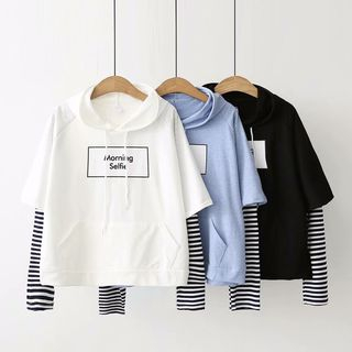 Mock Two-Piece Striped Panel Hoodie from Aigan