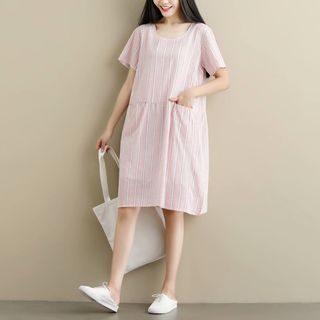 Pinstriped Short-Sleeve A-Line Dress from Aigan