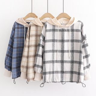 Plaid Drawcord-Waist Hoodie from Aigan
