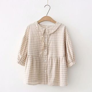 Plaid Ruffle Trim 3/4-Sleeve Blouse from Aigan