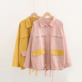 Pocket Detail Drawstring Button Jacket from Aigan