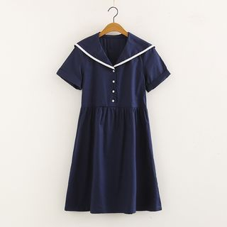 Sailor Collar Short -Sleeve A-line Dress Navy Blue - One Size from Aigan