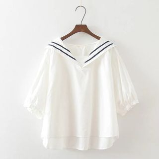 Sailor Collar Short-Sleeve Top from Aigan