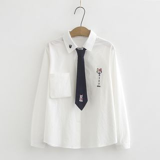 Set: Long-Sleeve Embroidered Shirt + Tie from Aigan