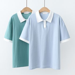 Short-Sleeve Color Block Polo Shirt from Aigan