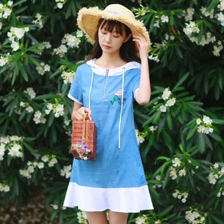 Short-Sleeve Denim A-line Dress from Aigan