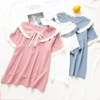 Short-Sleeve Frill Trim Chiffon Top from Aigan
