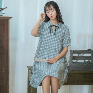 Short-Sleeve Plaid A-Line Dress from Aigan