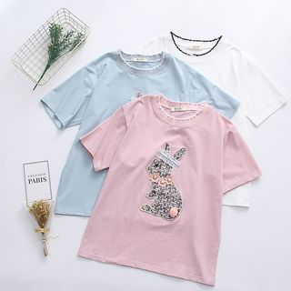 Short-Sleeve Rabbit Applique T-Shirt from Aigan