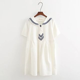 Short-Sleeve Sailor Collar A-Line Dress from Aigan