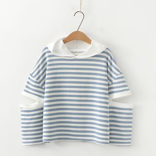 Striped Cutout Hoodie As Shown In Figure - One Size from Aigan