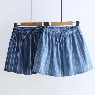 Striped Denim Wide-Leg Shorts from Aigan