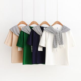 Striped Panel Short-Sleeve T-Shirt from Aigan
