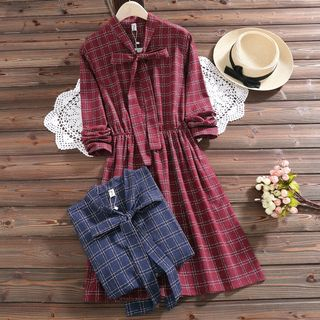 Tie-Neck Plaid A-Line Dress from Aigan