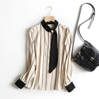 Tie-Neck Striped Chiffon Blouse from Aigan