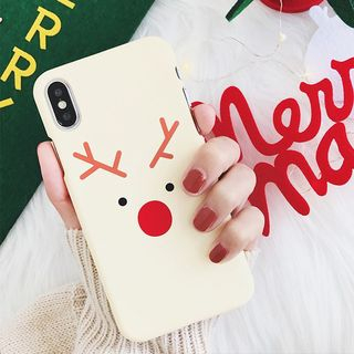 Christmas Deer Print Mobile Case - iPhone XS / X / 8 / 8 Plus / 7 / 7 Plus / 6s / 6s Plus from Aion