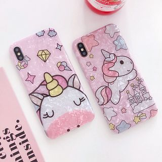 Scallop Texture Unicorn Print Mobile Case - iPhone XS Max / XS / XR / X / 8 / 8 Plus / 7 / 7 Plus / 6s / 6s Plus from Aion