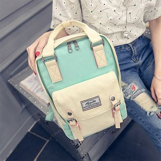 Colour Block Canvas Backpack from Aishang