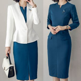 Blazer / Long-Sleeve Midi Sheath Dress / Set from Aision