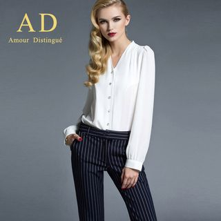 Chiffon Blouse / Striped Trousers from Aision
