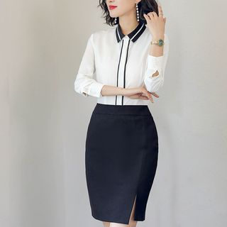 Color Block Shirt / Pencil Skirt / Set from Aision