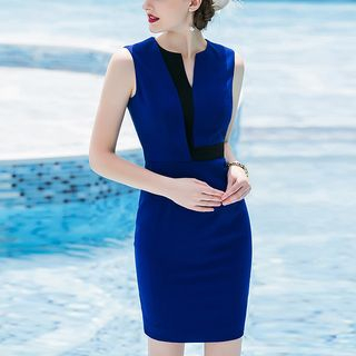 Color Panel Sleeveless Sheath Dress from Aision