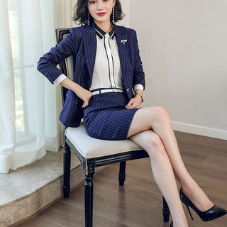 Contrast Trim Shirt / Pinstriped Blazer / Pencil Skirt / Set from Aision