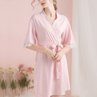 Elbow-Sleeve Lace Panel Pajama Robe from Aision