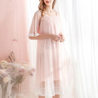 Elbow-Sleeve Lace Trim Pajama Dress from Aision