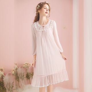Long-Sleeve Lace Trim Pajama Dress from Aision