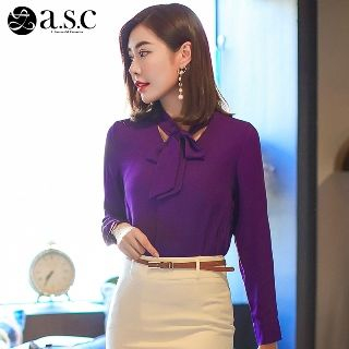 Long-Sleeve Tie-Neck Shirt from Aision