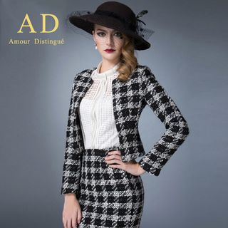 Mesh Blouse / Houndstooth Blazer / Pencil Skirt from Aision
