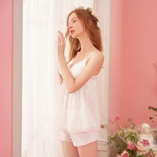 Pajama Set: Lace Cami Top + Shorts from Aision