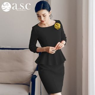 Plain Peplum Sheath Dress from Aision