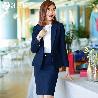 Set: Blazer + Tie-Neck Shirt + Pencil Skirt from Aision