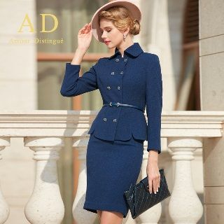 Set: Double-Breasted Blazer + Pencil Skirt from Aision