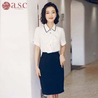 Short-Sleeve Shirt / Pencil Skirt from Aision