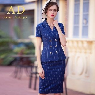 Striped Double-Breasted Blazer / Pencil Skirt from Aision