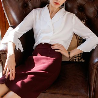 V-Neck Shirt / Pencil Skirt / Set from Aision