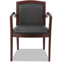Reception Lounge 500 Series Arch Solid Wood Chair, Mahogany/Black Leather from Alera