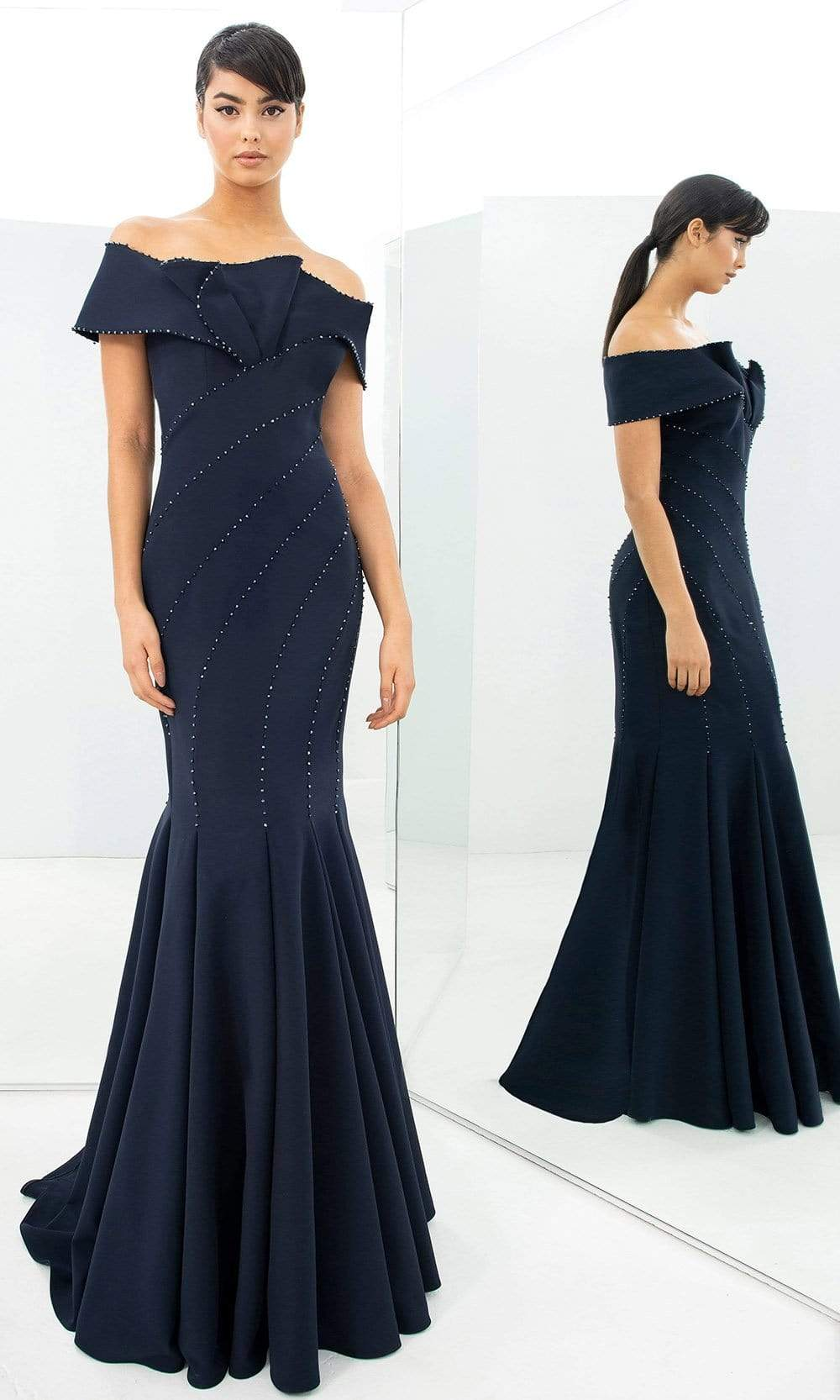 Alexander By Daymor - 1359 Off Shoulder Jersey Trumpet Gown from Alexander By Daymor
