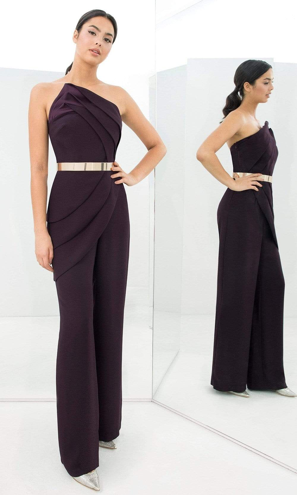 Alexander By Daymor - 1382 Strapless Asymmetric Neck Jumpsuit from Alexander By Daymor