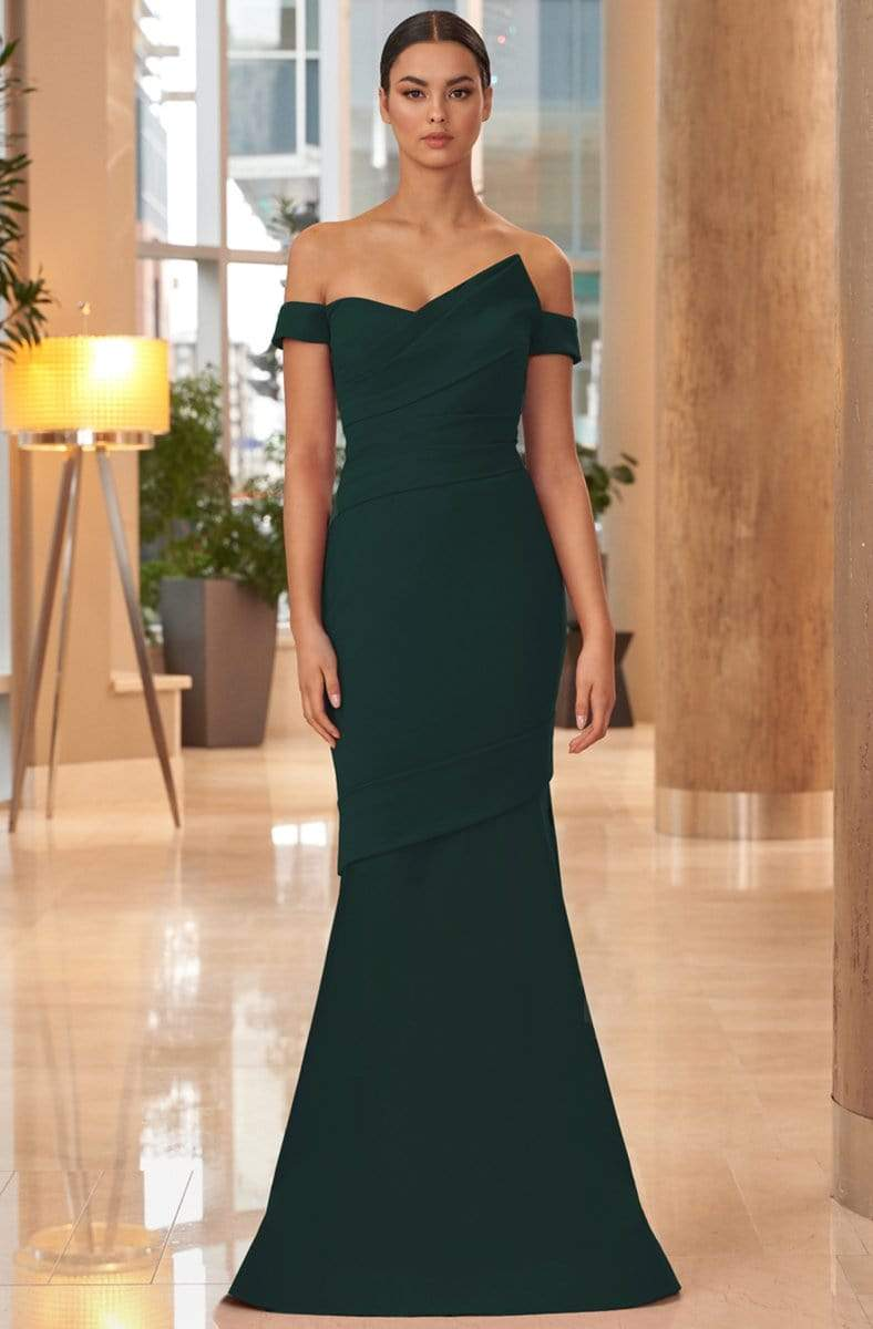 Alexander by Daymor - 1054 Detachable Skirt Off-Shoulder Trumpet Gown from Alexander By Daymor