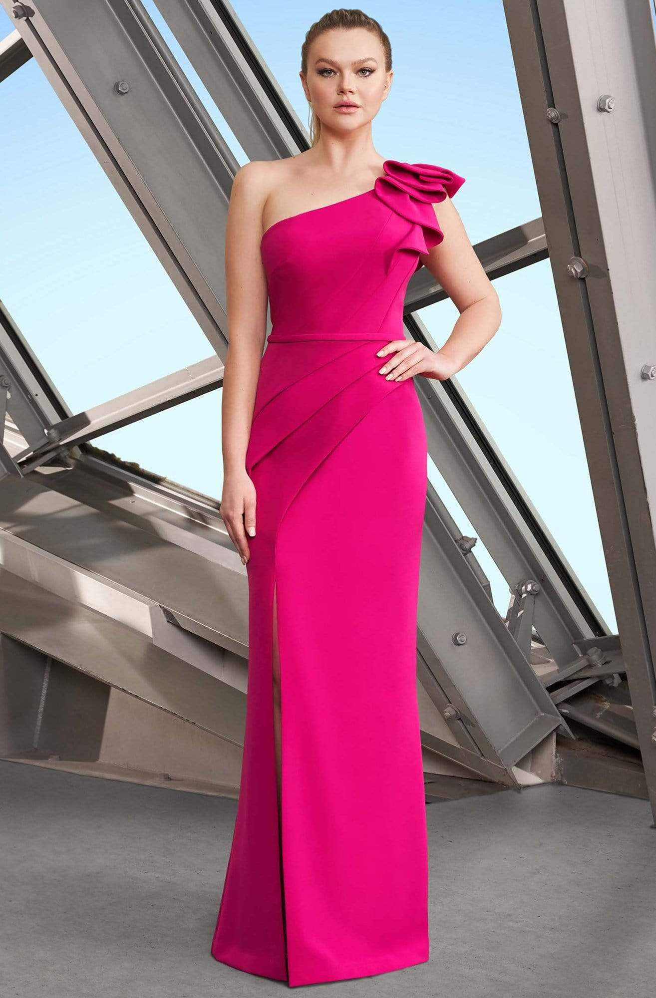 Alexander by Daymor - 1174 Asymmetric Ruffled One Shoulder Long Sheath Gown from Alexander By Daymor