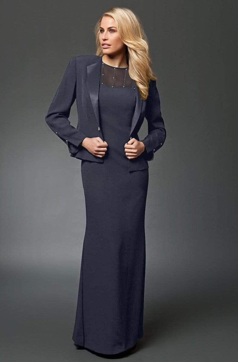 Alexander by Daymor - 702105 Classy Sheer Beaded Sheath Dress With Jacket from Alexander By Daymor