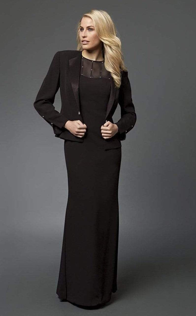 Alexander by Daymor - 702105 Classy Sheer Beaded Sheath Gown With Jacket from Alexander By Daymor