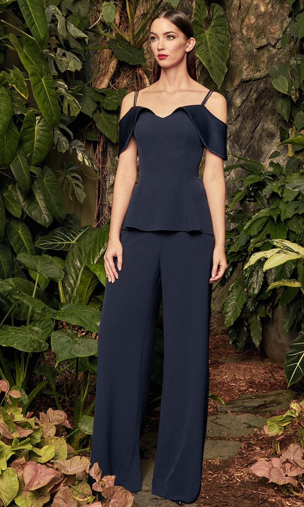 Alexander by Daymor - 990A Satin Cold-shoulder Jumpsuit with Peplum from Alexander By Daymor